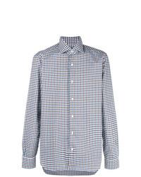 blaues Businesshemd mit Vichy-Muster von Barba