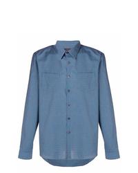 blaues Businesshemd mit Vichy-Muster von Prada