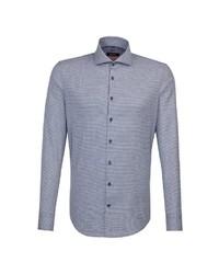 blaues Businesshemd mit Vichy-Muster von Seidensticker