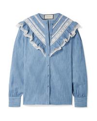 blaues Chambray Businesshemd mit Rüschen von Gucci