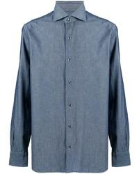 blaues Chambray Businesshemd von Barba