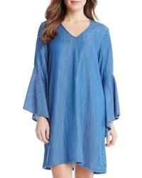 blaues Chambray gerade geschnittenes Kleid