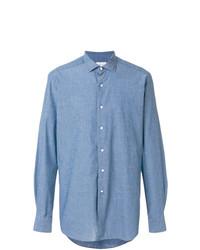 blaues Chambray Langarmhemd von Bagutta