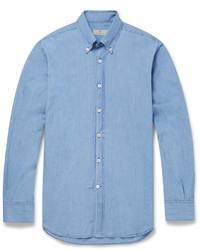 blaues Chambray Langarmhemd von Canali