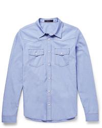 blaues Chambray Langarmhemd von Gucci