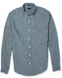 blaues Chambray Langarmhemd von J.Crew