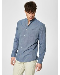 blaues Chambray Langarmhemd von Selected Homme