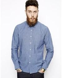 blaues Chambray Langarmhemd von YMC