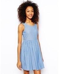blaues Chambray Skaterkleid von Vero Moda