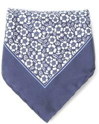 blaues Einstecktuch mit Blumenmuster von Canali