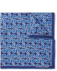 blaues Einstecktuch mit Paisley-Muster von Turnbull & Asser
