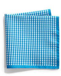 blaues Einstecktuch mit Vichy-Muster