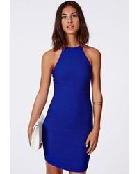blaues figurbetontes Kleid