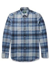 blaues Flanell Langarmhemd mit Karomuster von Gitman Brothers