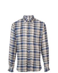 blaues Flanell Langarmhemd mit Karomuster von Gitman Vintage