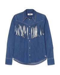 blaues Jeanshemd mit Fransen von MSGM