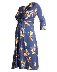 blaues Freizeitkleid mit Blumenmuster von Pietro Brunelli