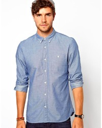 blaues gepunktetes Chambray Langarmhemd