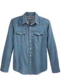 blaues gepunktetes Jeanshemd