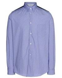 blaues gepunktetes Langarmhemd