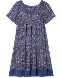 blaues gerade geschnittenes Kleid mit Blumenmuster von Tory Burch