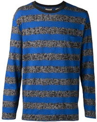 blaues horizontal gestreiftes Langarmshirt