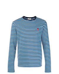 blaues horizontal gestreiftes Langarmshirt von AMI Alexandre Mattiussi