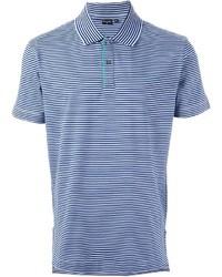 blaues horizontal gestreiftes Polohemd
