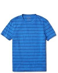 blaues horizontal gestreiftes T-Shirt mit einem Rundhalsausschnitt