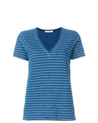 blaues horizontal gestreiftes T-Shirt mit einem V-Ausschnitt von Rag & Bone