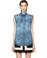 blaues Jeans ärmelloses Hemd von Balmain