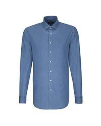 blaues Jeans Businesshemd von Seidensticker