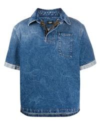 blaues Jeans Kurzarmhemd von Fendi