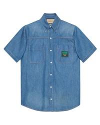 blaues Jeans Kurzarmhemd von Gucci