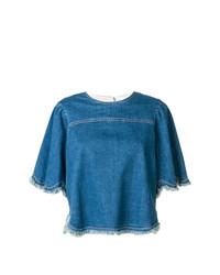 blaues Jeans T-Shirt mit einem Rundhalsausschnitt von See by Chloe