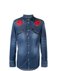 blaues Jeanshemd mit Blumenmuster