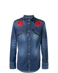 blaues Jeanshemd mit Blumenmuster von DSQUARED2