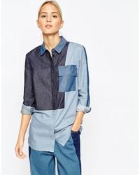 blaues Jeanshemd mit Flicken von Asos