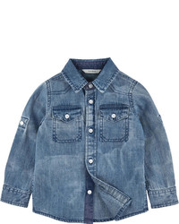 Blaues Jeanslangarmhemd
