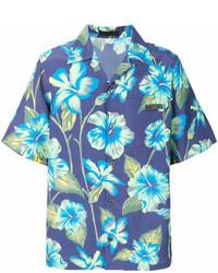 blaues Kurzarmhemd mit Blumenmuster