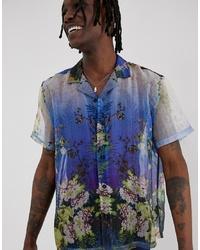 blaues Kurzarmhemd mit Blumenmuster von ASOS DESIGN