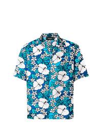 blaues Kurzarmhemd mit Blumenmuster von DSQUARED2