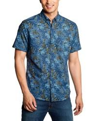 blaues Kurzarmhemd mit Blumenmuster von Eddie Bauer