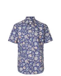 blaues Kurzarmhemd mit Blumenmuster von Gieves & Hawkes