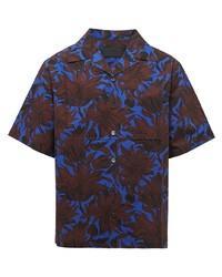 blaues Kurzarmhemd mit Blumenmuster von Prada