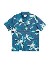 blaues Kurzarmhemd mit Blumenmuster von Quiksilver