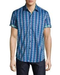 blaues Kurzarmhemd mit geometrischen Mustern