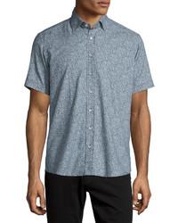 blaues Kurzarmhemd mit Paisley-Muster