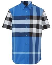 blaues Kurzarmhemd mit Schottenmuster von Burberry