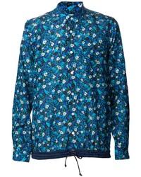 blaues Langarmhemd mit Blumenmuster